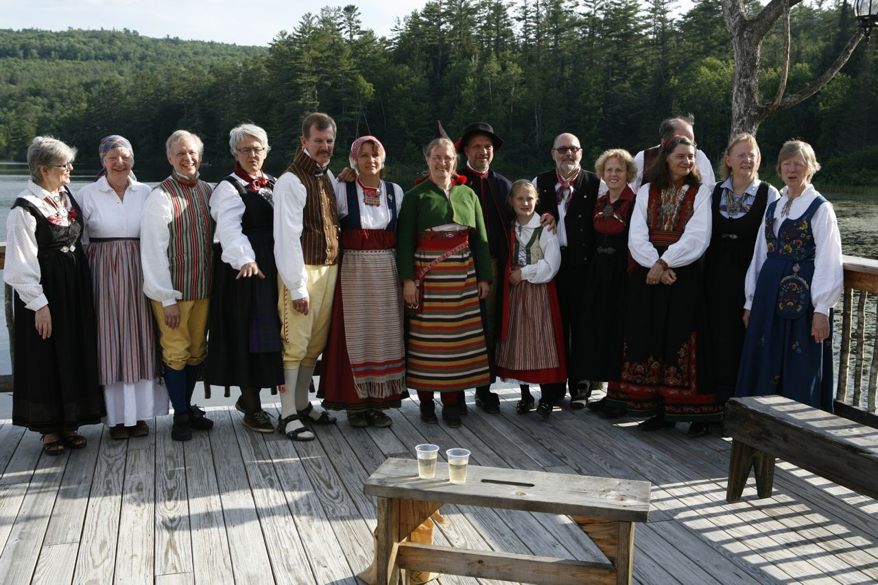 2013 - Group shot of folks in costume at the deck party before the evening dinner