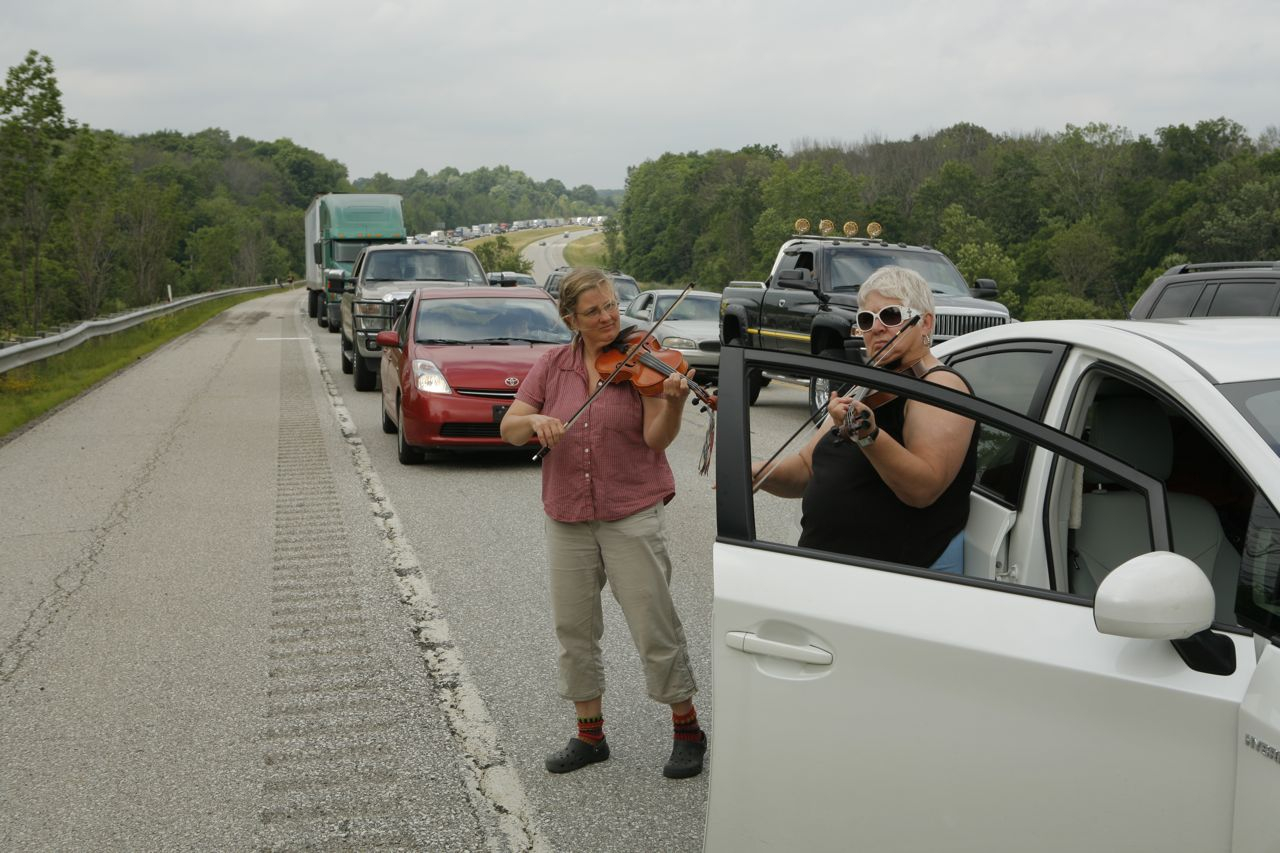 2014 - Traffic jam on the way home from NFF - a good time to practice camp tunes